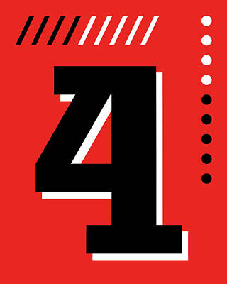 Royalty-Free and Rights-Managed Images - Number Four - Pop Art Print - Red by Studio Grafiikka
