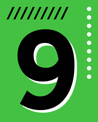 Royalty-Free and Rights-Managed Images - Number Nine - Pop Art Print - Green by Studio Grafiikka