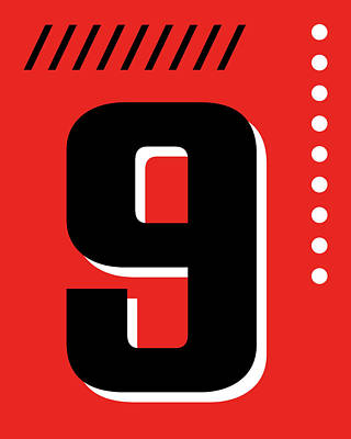 Royalty-Free and Rights-Managed Images - Number Nine - Pop Art Print - Red by Studio Grafiikka