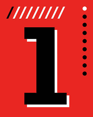 Royalty-Free and Rights-Managed Images - Number One - Pop Art Print - Red by Studio Grafiikka