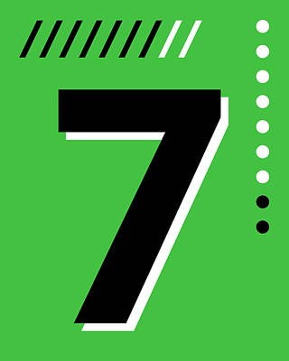 Royalty-Free and Rights-Managed Images - Number Seven - Pop Art Print - Green by Studio Grafiikka