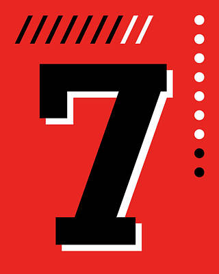Royalty-Free and Rights-Managed Images - Number Seven - Pop Art Print - Red by Studio Grafiikka