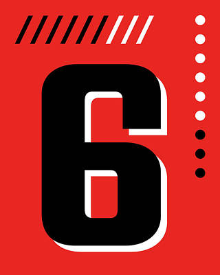 Royalty-Free and Rights-Managed Images - Number Six - Pop Art Print - Red by Studio Grafiikka