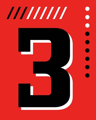 Royalty-Free and Rights-Managed Images - Number Three - Pop Art Print - Red by Studio Grafiikka