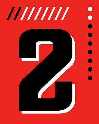 Royalty-Free and Rights-Managed Images - Number Two - Pop Art Print - Red by Studio Grafiikka