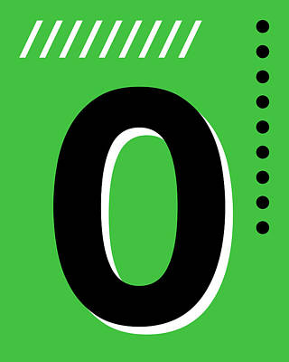 Royalty-Free and Rights-Managed Images - Number Zero - Pop Art Print - Green by Studio Grafiikka