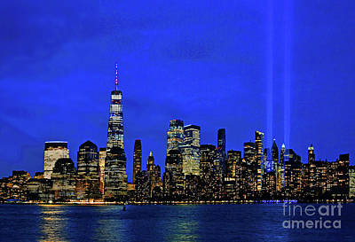 Royalty-Free and Rights-Managed Images - NYC Tribute in Light Beams at Twilight by Regina Geoghan