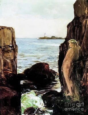 Winter Animals Royalty Free Images - Nymph on a Rocky Ledge by Childe Hassam 1886 Royalty-Free Image by Childe Hassam