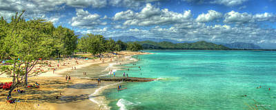 Aretha Franklin - Oahu Hawaii Kailua Beach Park 777 Panorama Landscape Seascape Art by Reid Callaway