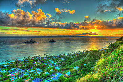 Landscape Photos Chad Dutson - Oahu HI Lanikai Beach Pillbox Hike Sunrise 2 Kaiwa Ridge Trail Landscape Seascape Art by Reid Callaway