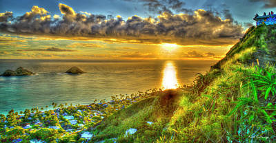 Royalty-Free and Rights-Managed Images - Oahu HI Lanikai Beach Pillbox Hike Sunrise 777 Kaiwa Ridge Trail Landscape Seascape Art by Reid Callaway