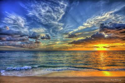 Rabbit Marcus The Great - Oahu HI Tracks Beach Angels Wings Sunset Pacific Ocean Seascape Art by Reid Callaway