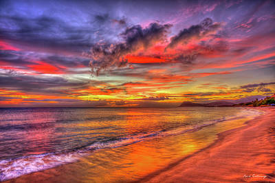 Rabbit Marcus The Great - Oahu HI Tracks Beach Red Reflections Sunset Pacific Ocean Seascape Art by Reid Callaway