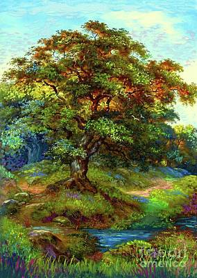 Landscapes Paintings - Oak Tree Tranquility by Jane Small