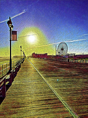Surrealism Royalty-Free and Rights-Managed Images - Ocean City NJ Boardwalk Solitude by Surreal Jersey Shore