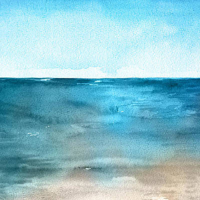 Royalty-Free and Rights-Managed Images - Ocean landscape. Beautiful watercolor hand painting illustration. by Julien