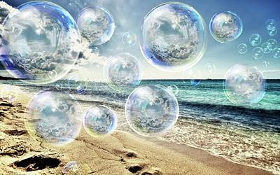 Surrealism Royalty-Free and Rights-Managed Images - Ocean Pop Bubble Dreams by Teresa Trotter