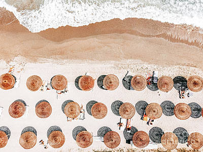 Design Pics - Ocean Print, Beach Print, Aerial Beach Print, Beach Photography, People Umbrellas Art Print by Radu Bercan