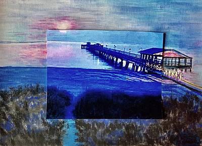 Mixed Media - Ocean-Sunset-Bridge by Karin Palminteri