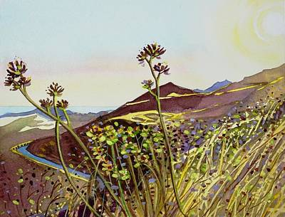 Target Threshold Watercolor - Looking West - The Mishe Mokwa Trail by Luisa Millicent