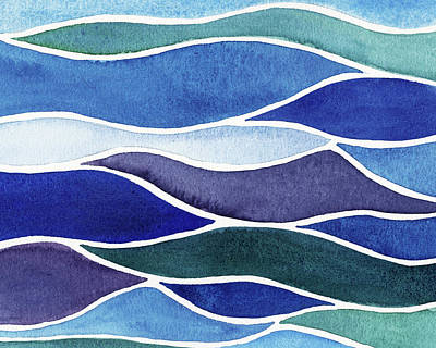 Royalty-Free and Rights-Managed Images - Ocean Waves Batik Style Watercolor  by Irina Sztukowski