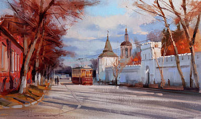 Painting - October. Old Moscow, Danilovsky Val street by Alexey Shalaev