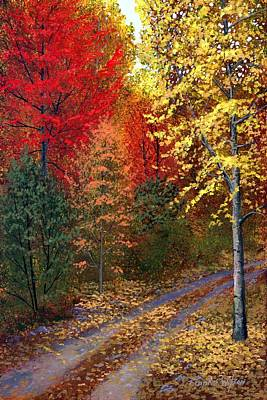 Landscapes Royalty-Free and Rights-Managed Images - October Road by Frank Wilson