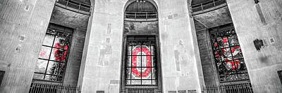 Sports Royalty-Free and Rights-Managed Images - Ohio Stadium Rotunda Stained Glass Panorama - Selective Color by Gregory Ballos