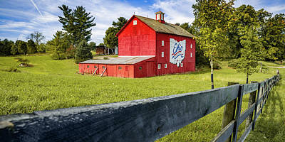 Royalty-Free and Rights-Managed Images - Ohio State Red Bicentennial Barn Panorama by Gregory Ballos