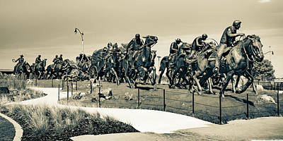 Thomas Kinkade - Oklahoma City Centennial Land Run Monument Sepia Panorama by Gregory Ballos