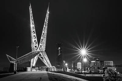 Easter Egg Hunt - Oklahoma City Skydance Scissortail Bridge and Skyline - Black and White by Gregory Ballos