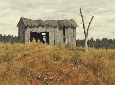 Painting - Landscape with Old Barn and Dead Tree by Stan Masters