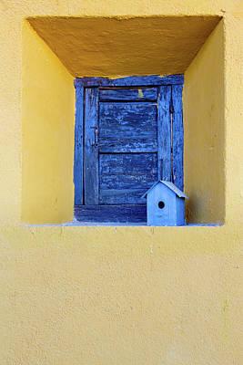 Pasta Al Dente - Old blue painted shutter on window of old home by Steven Heap