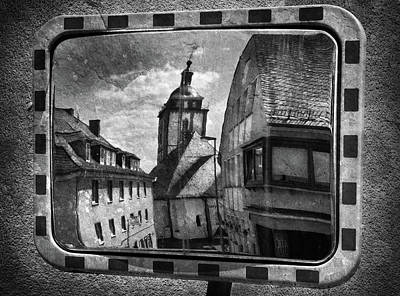 Surrealism Royalty-Free and Rights-Managed Images - Old City Street Reflected in Mirror by Mark Robert Davey