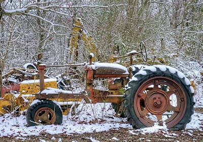 Animal Portraits - Old Gutted Tractor in Snow by Douglas Barnett