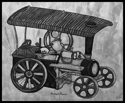 Still Life Drawings - Old Model Steam Tractor W/ Border by Michael Panno