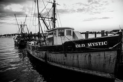 Book Quotes - Old Mystic at Dock BW by Karol Livote