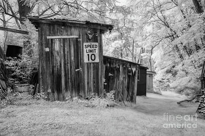 Stellar Interstellar - Old Shed Infrared Black and White by Randy Steele
