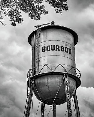 Kitchen Food And Drink Signs - Old Time Bourbon Tower - Black and White by Gregory Ballos