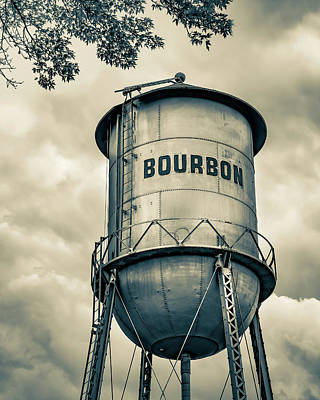 Kitchen Food And Drink Signs - Old Time Bourbon Tower - Sepia by Gregory Ballos