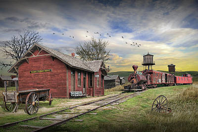Catch Of The Day - Old Train Station with Locamotive and Railroad Cars by Randall Nyhof