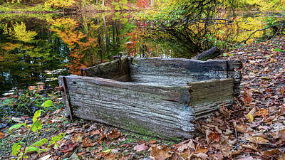Priska Wettstein Pink Hues Royalty Free Images - Old wooden bin by Dividend Pond in Rocky Hill, Connecticut Royalty-Free Image by Kyle Lee