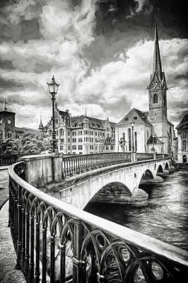 World Forgotten Rights Managed Images - Old Zurich Black and White  Royalty-Free Image by Carol Japp