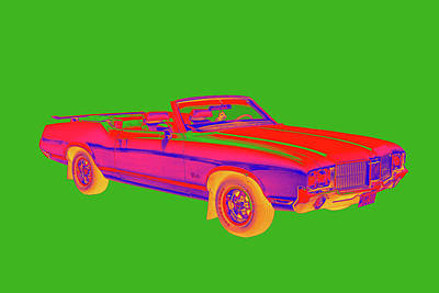 Royalty-Free and Rights-Managed Images - Oldsmobile Cutlass Supreme Muscle Car Pop Art by Keith Webber Jr