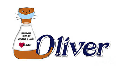 Studio Grafika Vintage Posters - Oliver the Otter Wears a Mask by Colleen Cornelius