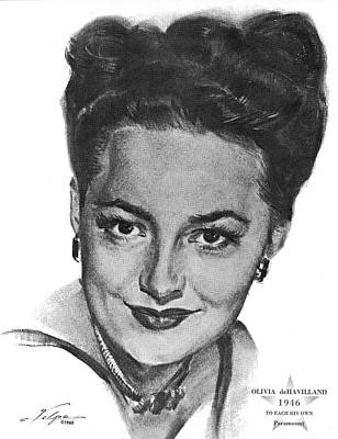 Drawings Royalty Free Images - Olivia de Havilland by Volpe Royalty-Free Image by Stars on Art
