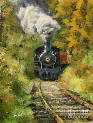 Amy Hamilton Animal Collage - Oltimer train by Dragica Micki Fortuna