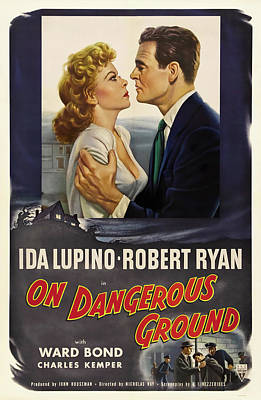 Mixed Media Royalty Free Images - On Dangerous Ground, with Ida Lupino and Robert Ryan, 1952 Royalty-Free Image by Stars on Art