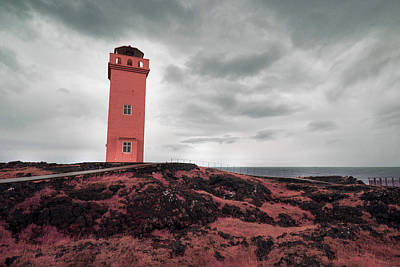 Surrealism Royalty Free Images - Ondverdarnes Lighthouse , Snaefellsnes peninsula, Iceland - Surreal Art by Ahmet Asar Royalty-Free Image by Celestial Images
