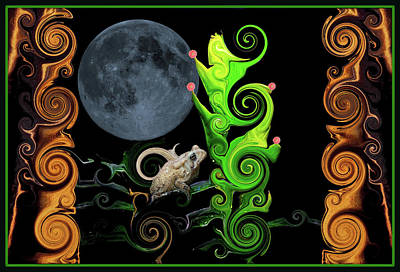 Surrealism Royalty-Free and Rights-Managed Images - One Blue Moon And A Toad by Constance Lowery